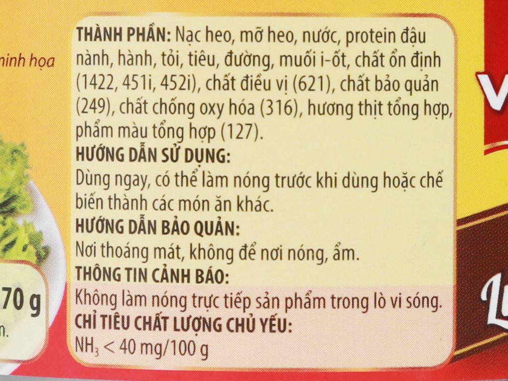 Pate thịt đặc biệt Vissan hộp 170g 9