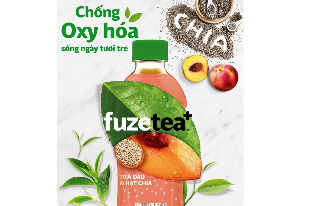 Trà Đào và hạt CHIA Fuzetea+ chai 350ml