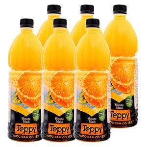 Nước cam nguyên tép Teppy chai 1lít (6 chai)