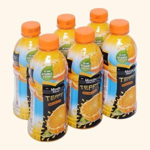 6 chai nước cam có tép Teppy 327ml