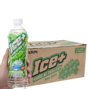 Thùng 24 chai nước trái cây vị nho Ice+ 490ml