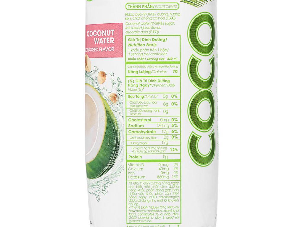 Nước dừa xiêm sen Cocoxim 330ml 6