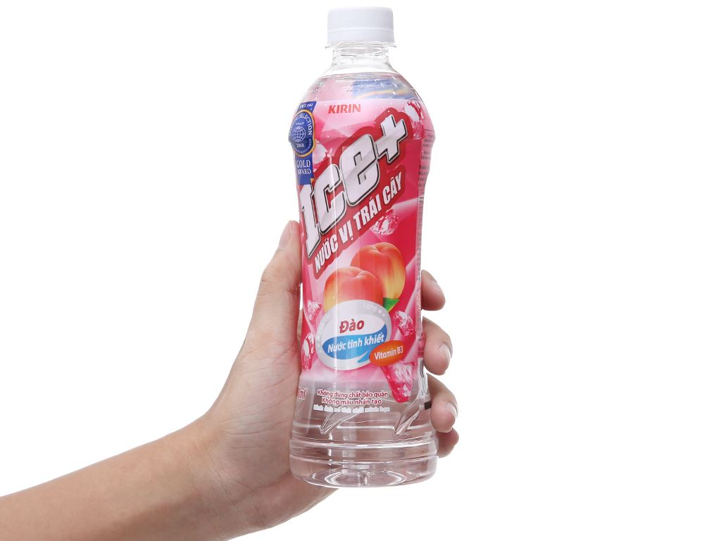 6 chai nước trái cây Ice+ vị đào 490ml 4
