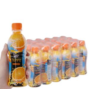 Thùng 24 chai nước cam có tép Teppy 327ml