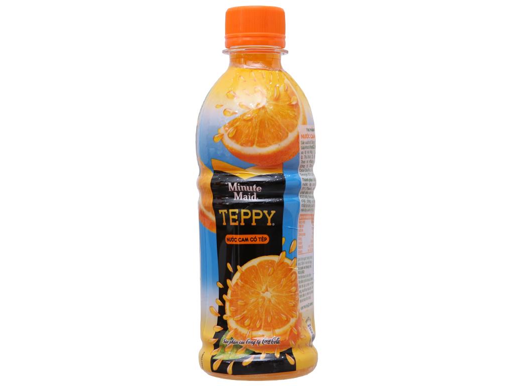 Thùng 24 chai nước cam có tép Teppy 327ml 2