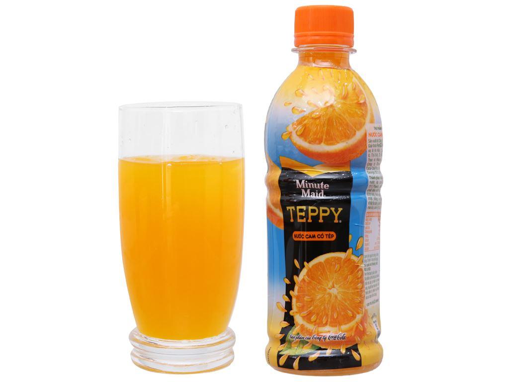 Thùng 24 chai nước cam có tép Teppy 327ml 4