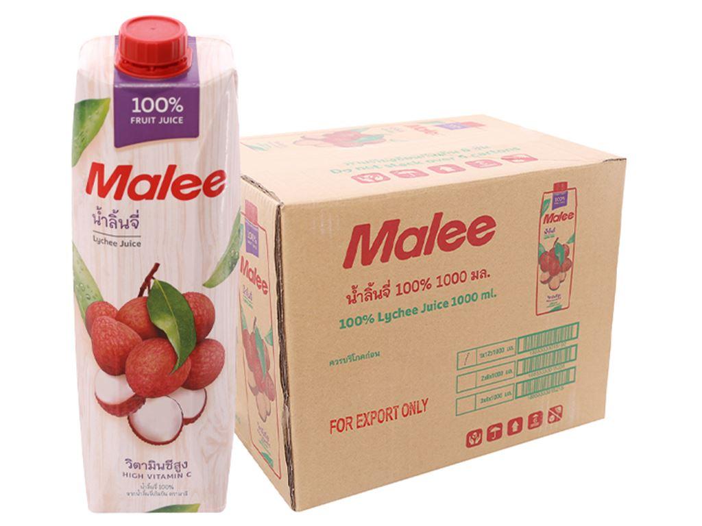 Thùng 12 hộp nước ép trái vải Malee 1 lít 1