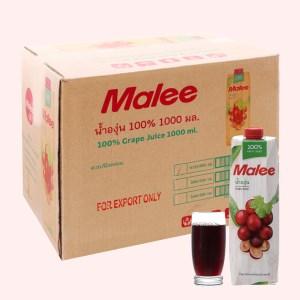 12 hộp nước ép nho Malee 1 lít