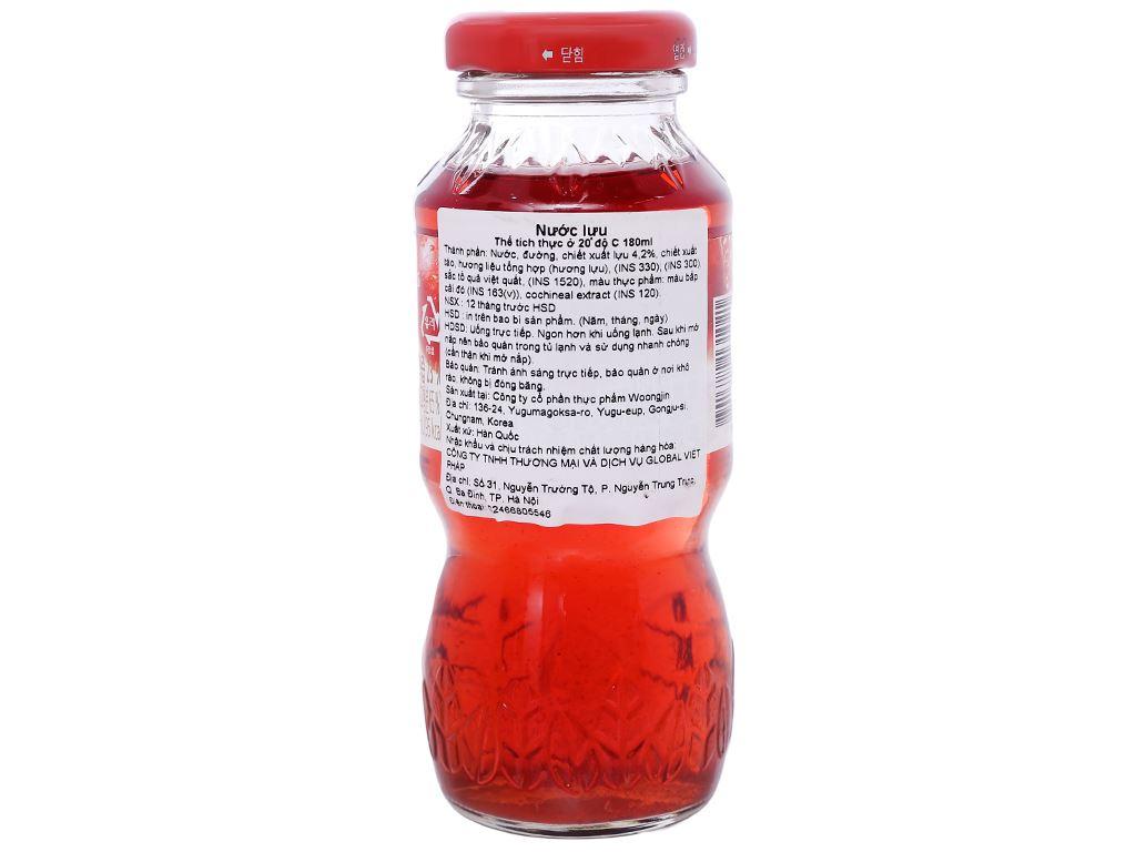 Thùng 24 chai nước ép lựu Woongjin 180ml 2