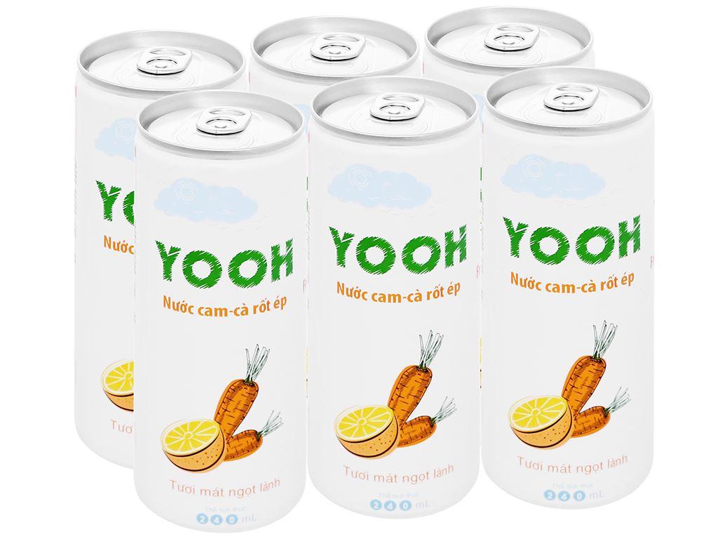 6 lon nước ép cam và cà rốt Yooh 240ml 1