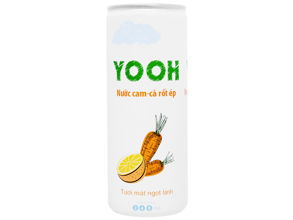 Thùng 24 lon nước ép cam và cà rốt Yooh 240ml 2