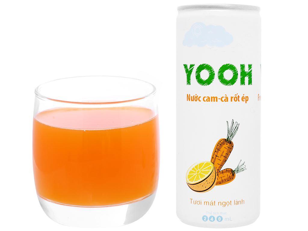 Thùng 24 lon nước ép cam và cà rốt Yooh 240ml 6