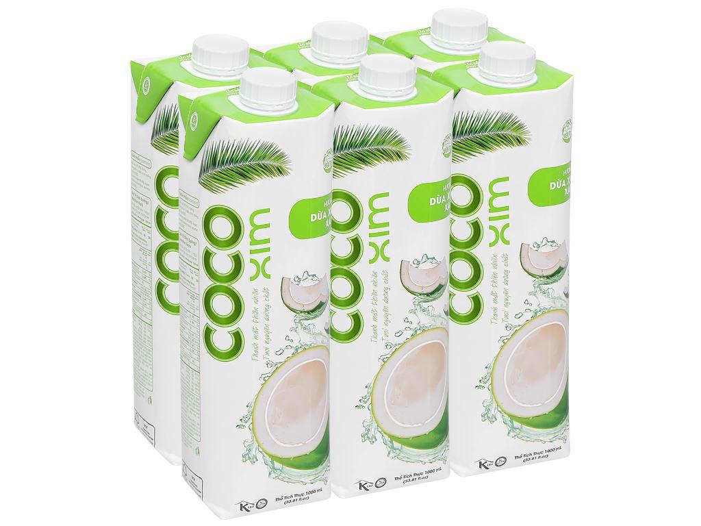 6 hộp nước dừa xiêm xanh Cocoxim 1 lít 1