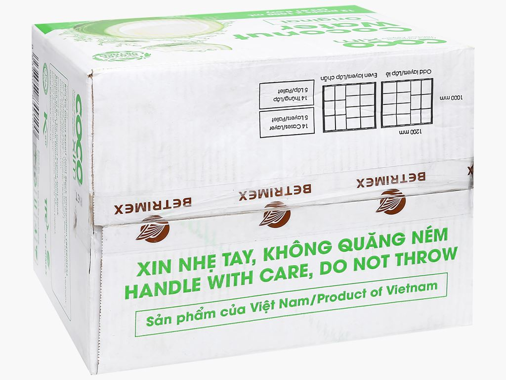 Thùng 12 hộp nước dừa xiêm xanh Cocoxim 1 lít 1