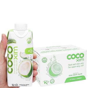 Thùng 12 hộp nước dừa xiêm xanh Cocoxim 330ml