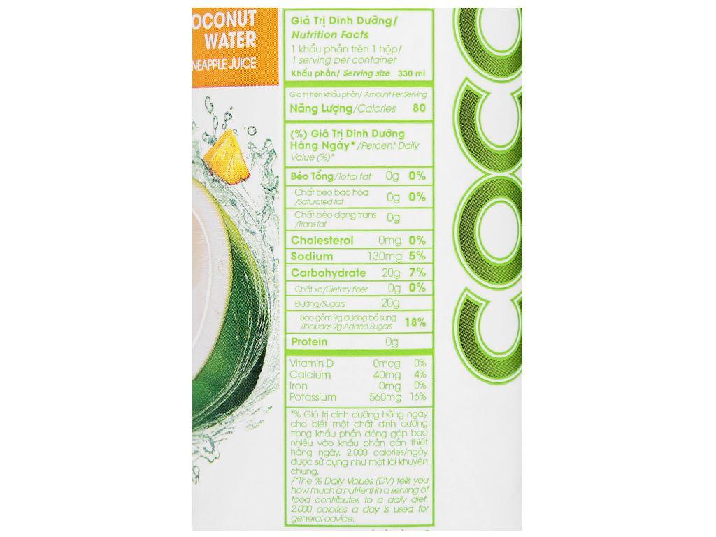 6 hộp nước dừa xiêm và dứa Cocoxim 330ml 6
