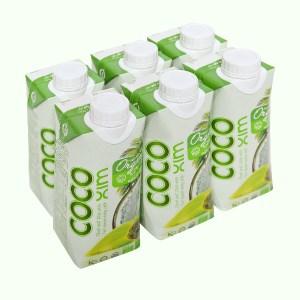 6 hộp nước dừa nguyên chất Cocoxim Organic 330ml
