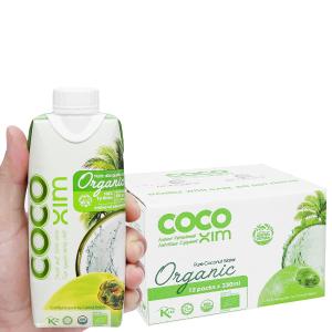 Thùng 12 hộp Nước dừa nguyên chất Cocoxim Organic 330ml