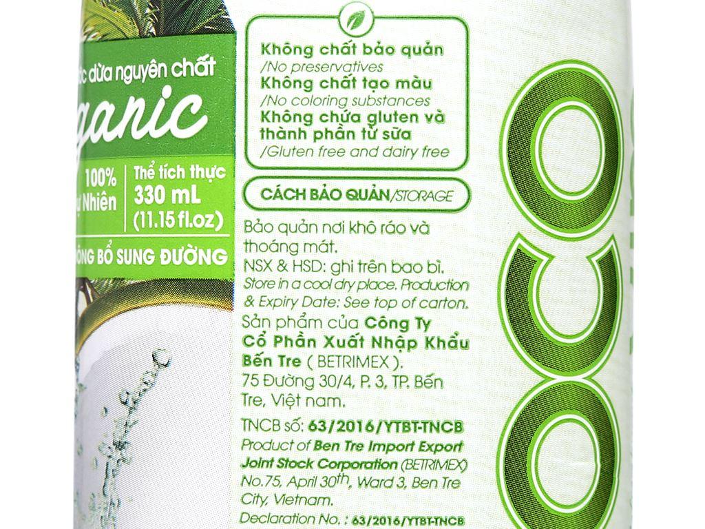 Thùng 12 hộp nước dừa nguyên chất Cocoxim Organic 330ml 7