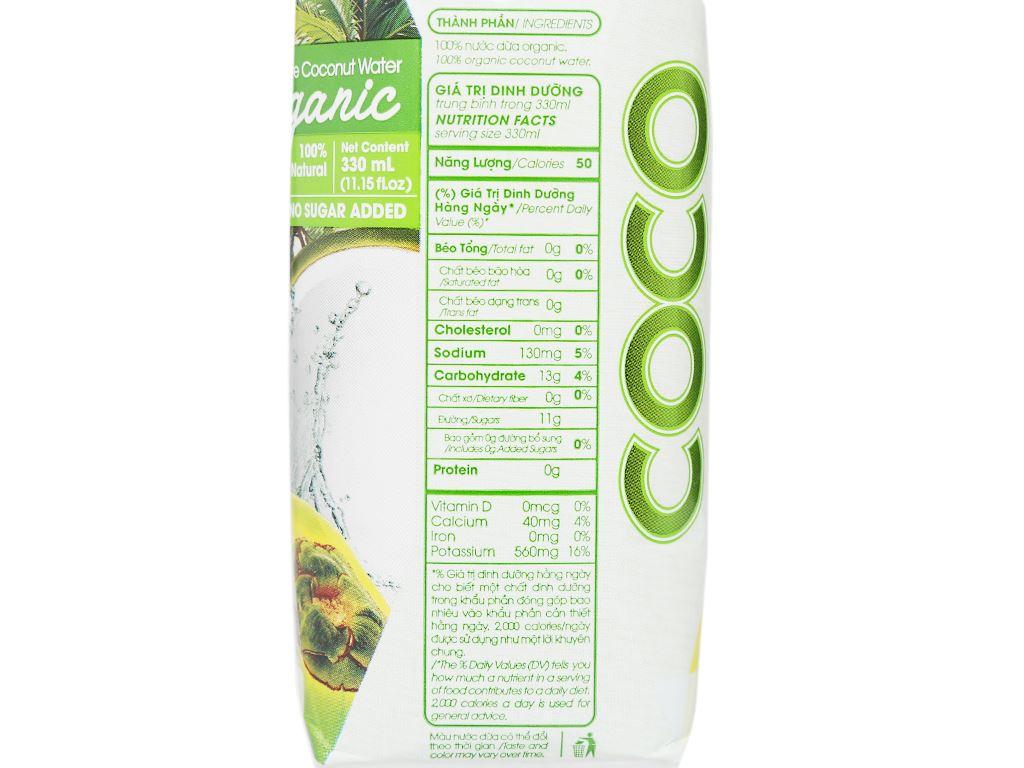 Thùng 12 hộp nước dừa nguyên chất Cocoxim Organic 330ml 8