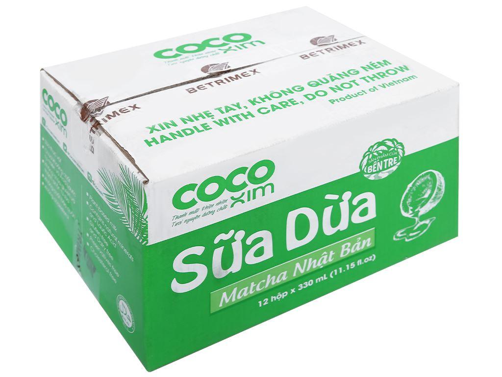 Thùng 12 hộp sữa dừa matcha Nhật Bản Cocoxim 330ml 1