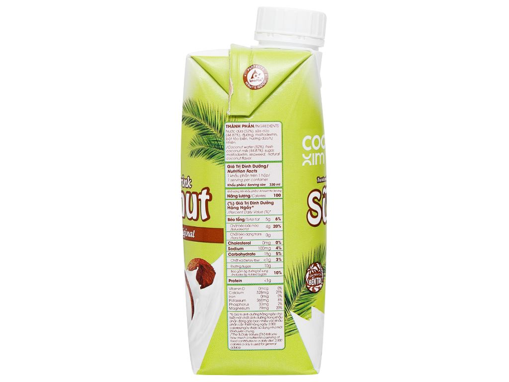 Lốc 6 hộp sữa dừa nguyên chất Cocoxim 330ml 10
