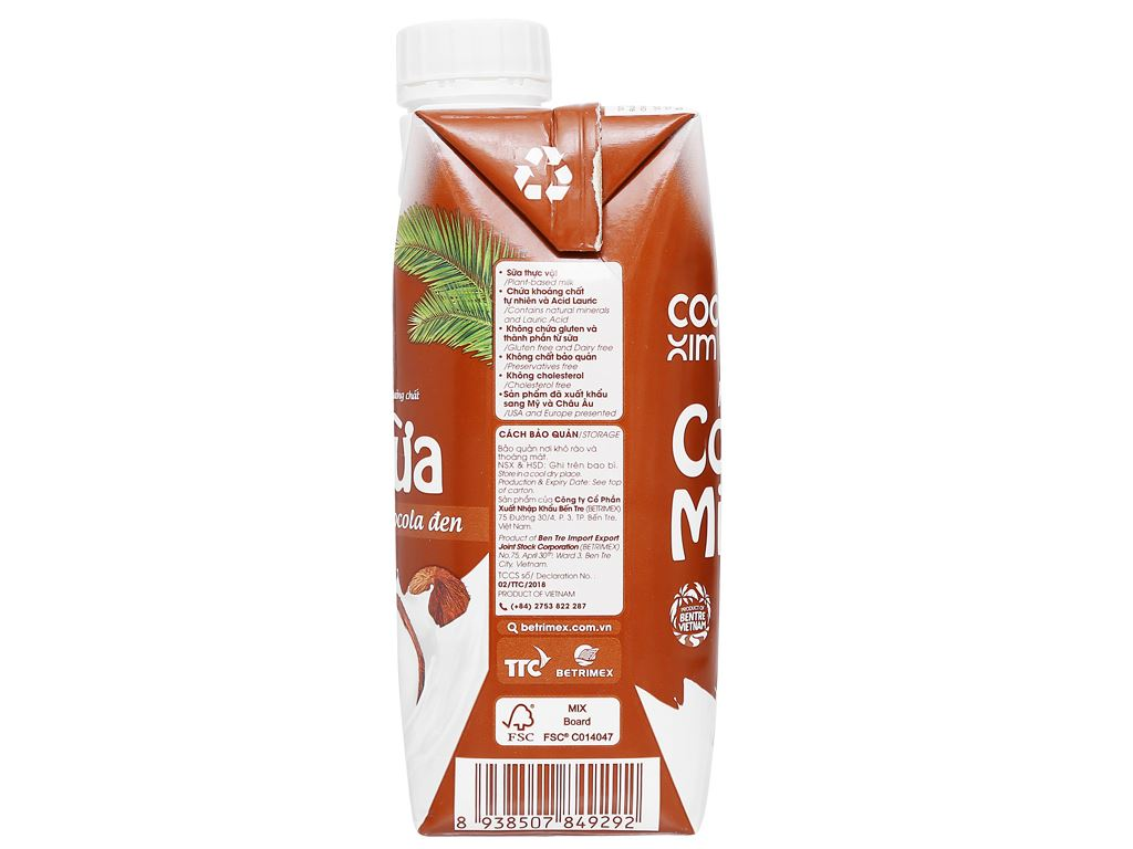 Thùng 12 hộp sữa dừa socola đen Cocoxim 330ml 11