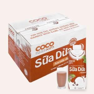 Thùng 12 hộp sữa dừa socola đen Cocoxim 330ml