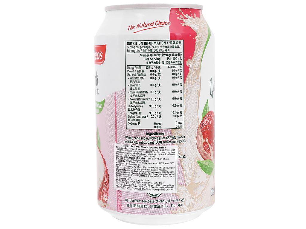 6 lon nước trái vải Yeo's 300ml 4