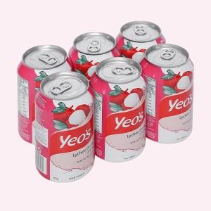 6 lon nước trái vải Yeo's 300ml