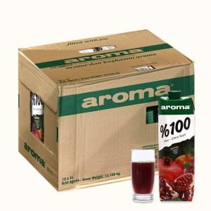 Thùng 12 hộp nước ép lựu & táo Aroma 1 lít
