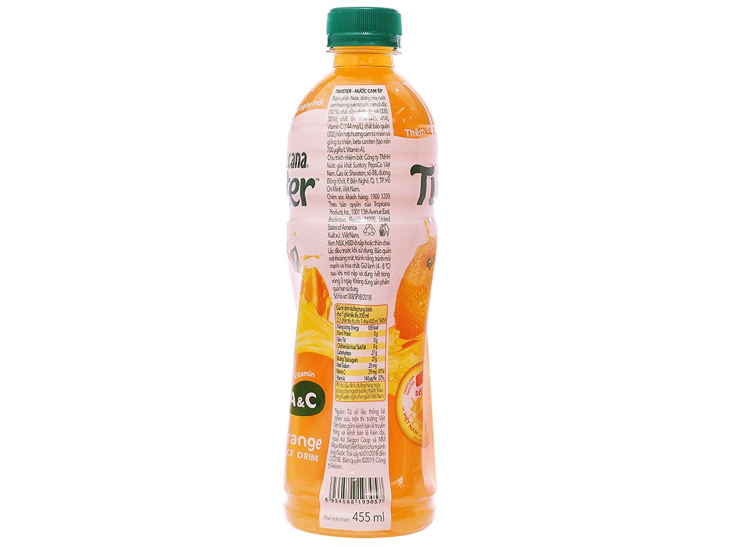 6 chai nước cam ép Twister Tropicana 455ml 6