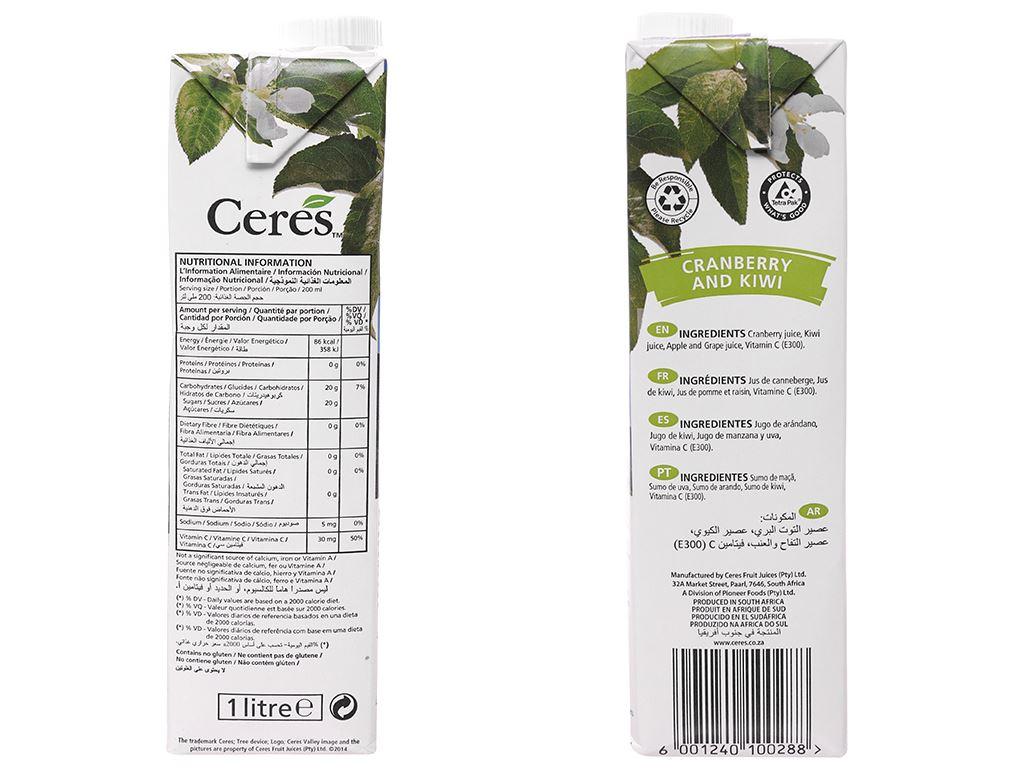 Nước ép nam việt quất và kiwi Ceres 1 lít 7