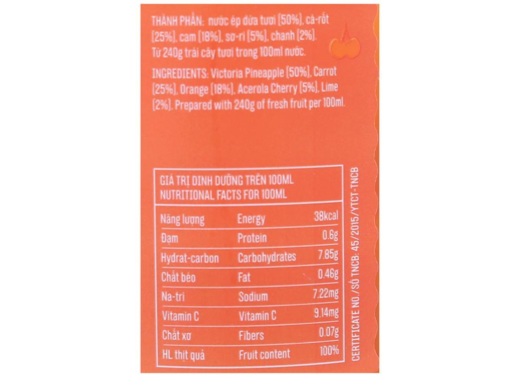 Nước ép cà rốt, cam, dứa Le Fruit 260ml 2