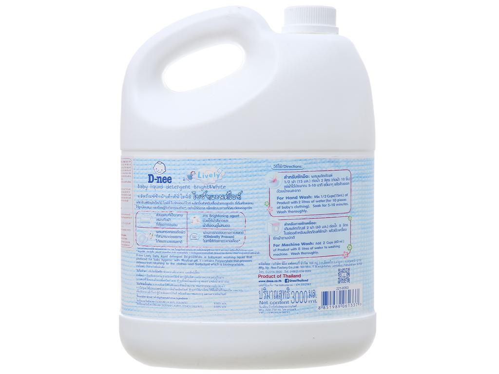 Nước giặt cho bé D-nee Lively trắng phấn thơm can 3 lít 3