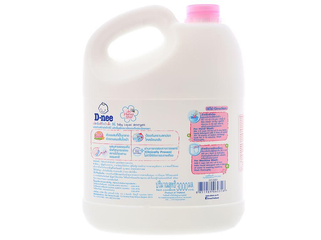 Nước giặt cho bé D-nee Honey Star hồng dịu nhẹ can 3 lít 3