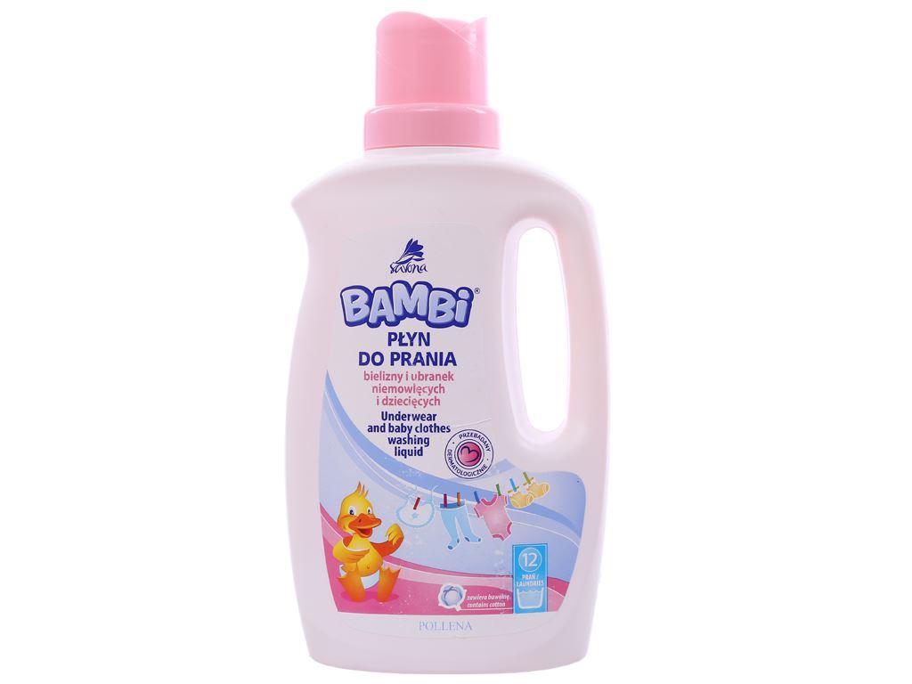 Nước giặt trẻ sơ sinh Bambi hương dịu nhẹ dịu nhẹ chai 1 lít 1