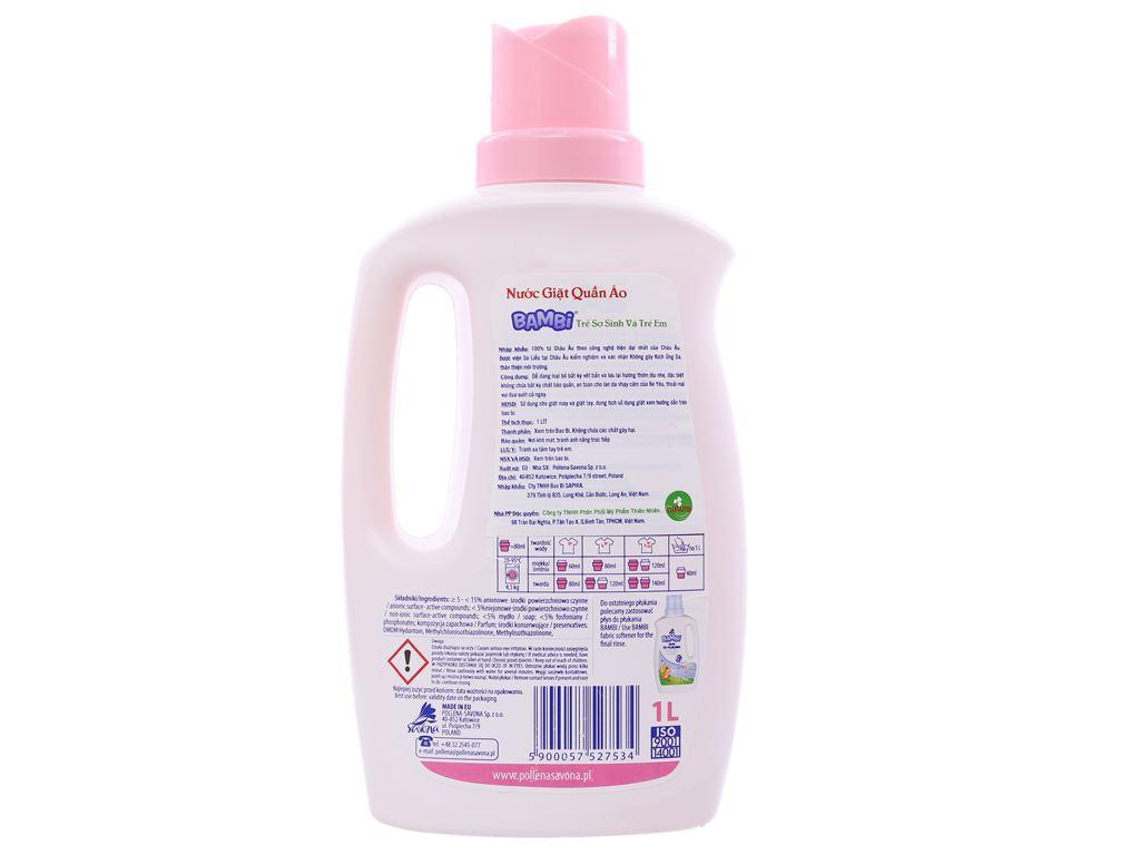 Nước giặt trẻ sơ sinh Bambi hương dịu nhẹ dịu nhẹ chai 1 lít 2