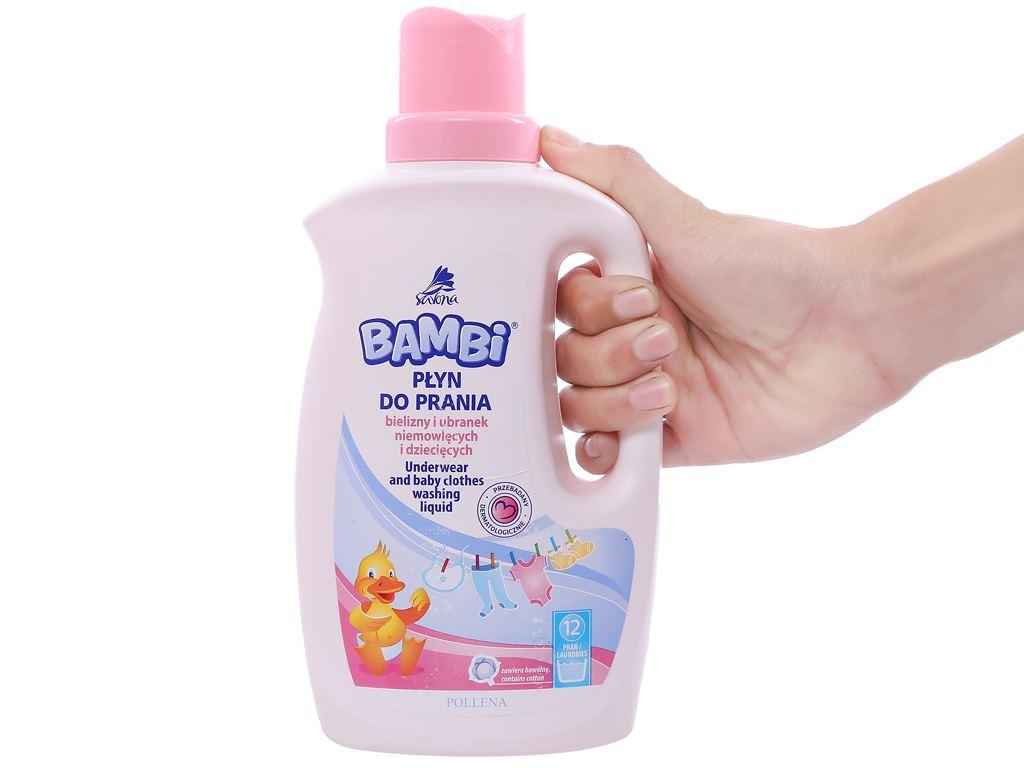 Nước giặt trẻ sơ sinh Bambi hương dịu nhẹ dịu nhẹ chai 1 lít 3