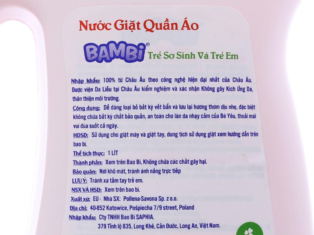 Nước giặt trẻ sơ sinh Bambi hương dịu nhẹ dịu nhẹ chai 1 lít 4