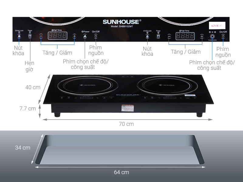 Thông số kỹ thuật Bếp hồng ngoại đôi Sunhouse SHB9102MT