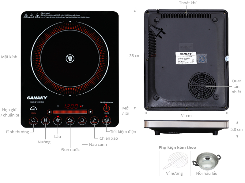 Thông số kỹ thuật Bếp hồng ngoại Sanaky SNK-2103HGN