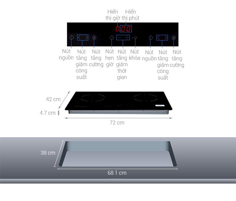 Thông số kỹ thuật Bếp hồng ngoại đôi Sunhouse APB9902A