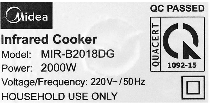 Công suất 2000 W - Bếp hồng ngoại Midea MIR-B2018DG