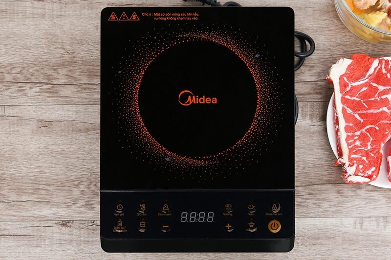 Mặt bếp bằng sứ chịu nhiệt cao cấp - Bếp hồng ngoại Midea MIR-B2018DG