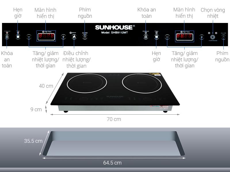 Thông số kỹ thuật Bếp hồng ngoại đôi Sunhouse SHB9112MT