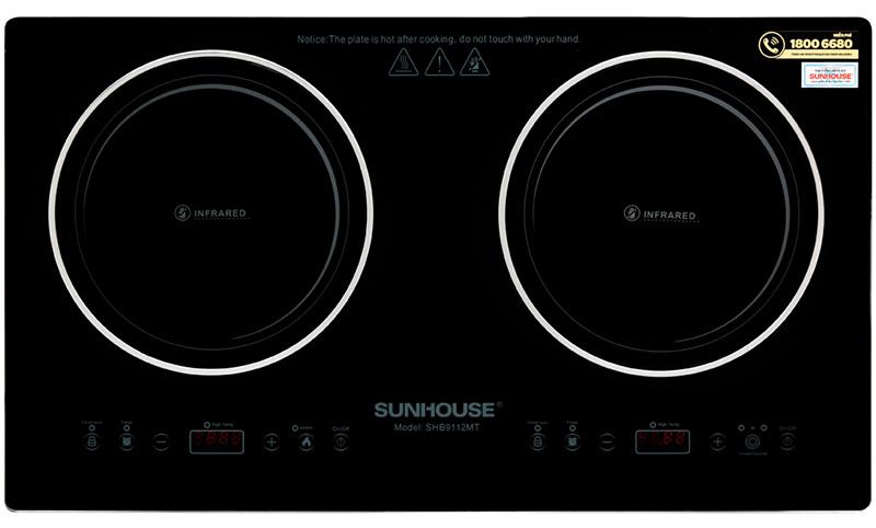 2 lò nấu với công suất cao - Bếp hồng ngoại đôi Sunhouse SHB9112MT