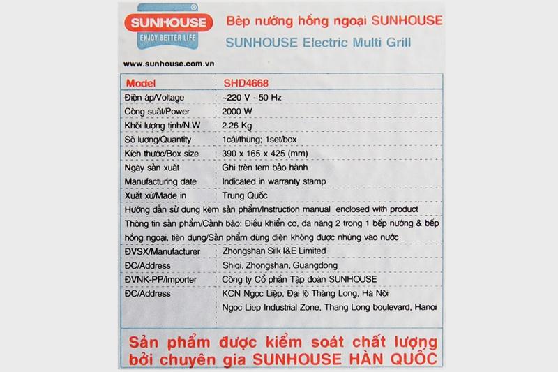 Công suất tối đa 2000 W nấu nhanh - Bếp hồng ngoại Sunhouse SHD4668