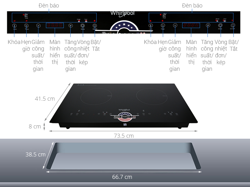 Thông số kỹ thuật Bếp hồng ngoại đôi Whirlpool ACT752/BLV