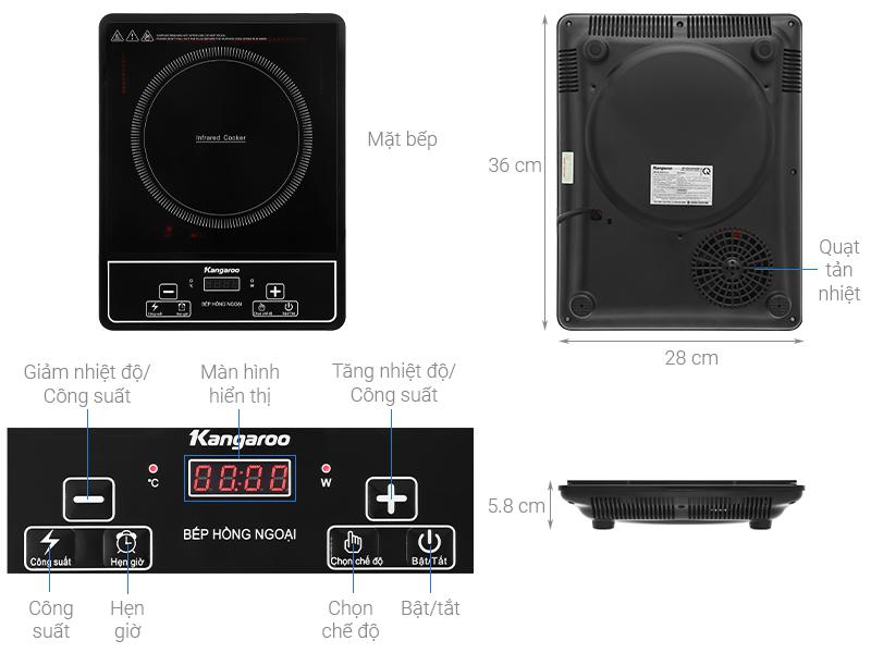 Thông số kỹ thuật Bếp hồng ngoại Kangaroo KG20IFP1